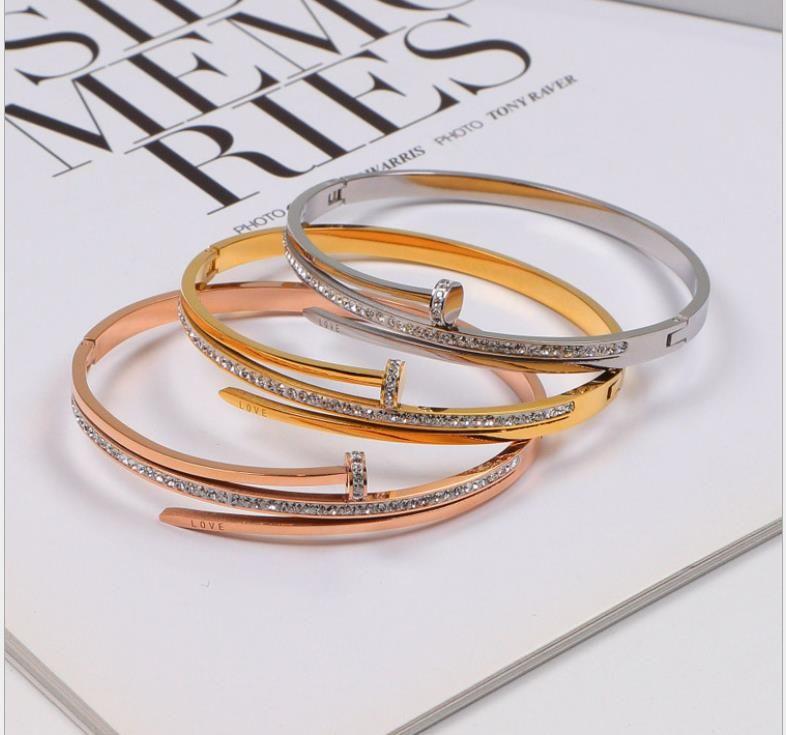Fashion Diamond Bracelet Titanium Steel 18K Rose Gold Men and Women Bracelet