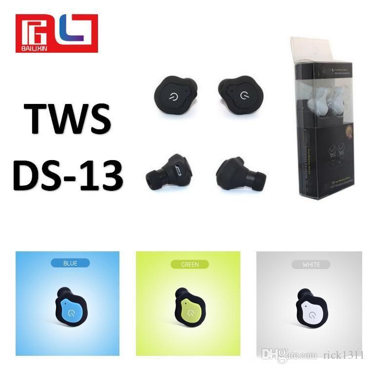 Süper Mini Kulaklık TWS DS-13 Twins Bluetooth Kulaklık Taşınabilir Mini Kablosuz Kulak Bud Stereo Bluetooth Earbuds Bluetooth kulaklık