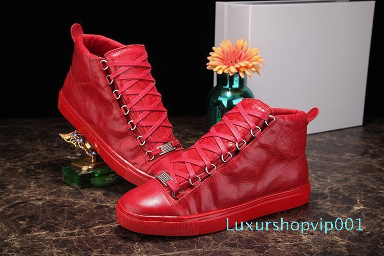 Leather High Top spiegazzato colori misti di modo di marca bianco nero rosso di Designer Shoes all'ingrosso scarpe di alta qualità dello stadio Uomo casuale Sneaker 35