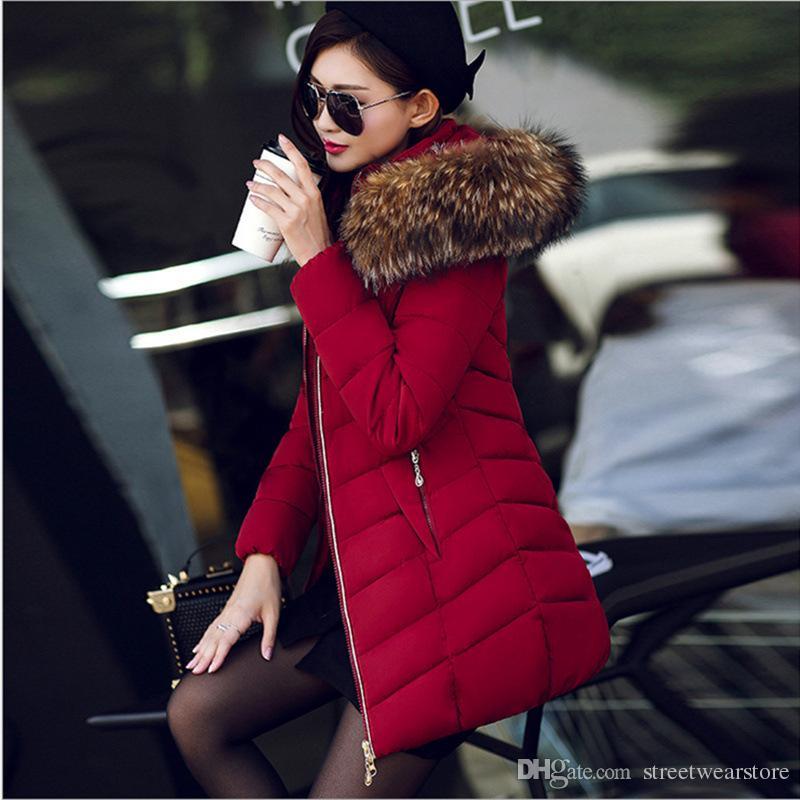 Abrigo de invierno de piel grande engrosado parka mujeres cosiendo delgado largo abrigo de algodón abajo algodón damas abajo parka abajo chaqueta mujeres