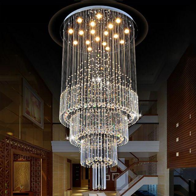 현대 크리스탈 펜 던 트 빛 빗방울 천장 샹들리에 빛 크리스탈 교수형 램프 거실과 식당 계단 AC110-240V 전구