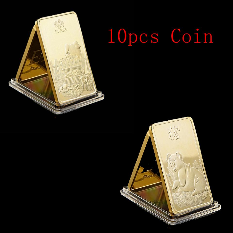 10pcs Suisse Zodiac Pig 1oz Gold 999 Commemorative Gold Bar Year Pig New Year Gift Gold Plated Art Collection