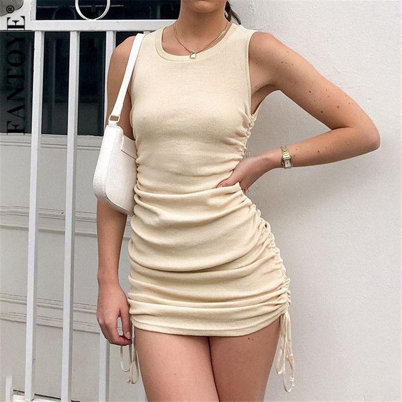 Coton Plissé Sexy Party Dress Drawstring femmes manches élastiques Mini robe Vintage été Bodycon Club Wear Vestidos