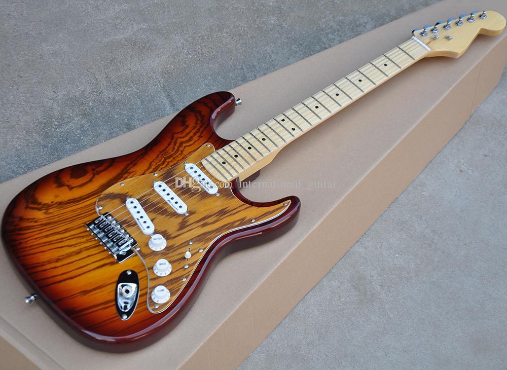 Tabaco Sunburst guitarra eléctrica con chapa de madera de cebra, 22 trastes, cromo Hardware, diapasón de arce, se puede personalizar