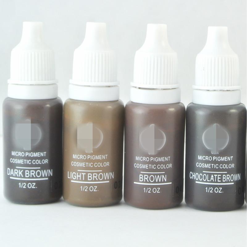 Dövme Kaş Dudak 4 Renkler Kalıcı Makyaj Mikro Pigmentler Seti BTCH Dövme Mürekkep Kozmetik 15ml Takımı Karışık Renk Makyaj