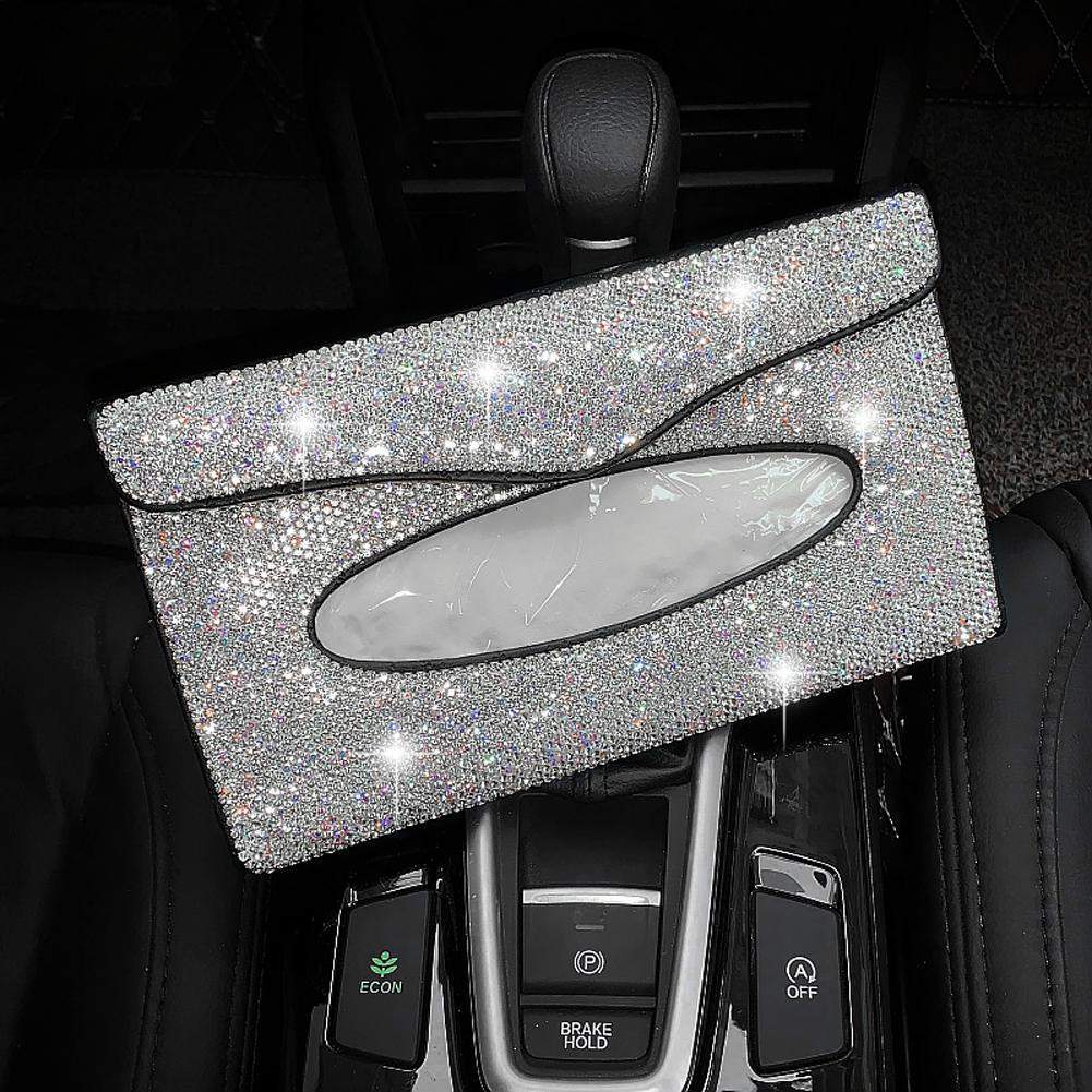 Cristal Cartoon voiture tissu Boîte pare-soleil diamant PU tissu auto Sac en cuir Pare-soleil Porte-Hanging Case Accessoires voiture