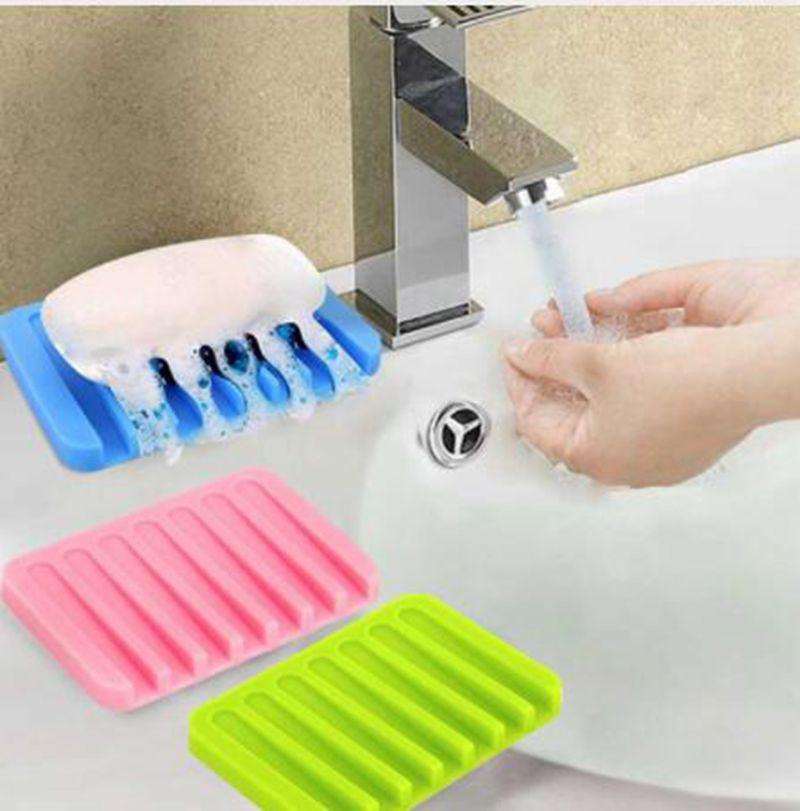 Saboneteiras de silicone Silício Cozinha Banheiro Saboneteira Flexível Placa Titular Bandeja Soap titular da caixa KKA6364