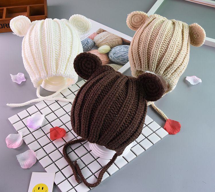 Fashion Child Baby Hat Winter Boys Warm Earflap Beanies Hats For Girls Knit Ribbed Handmade Ear Flaps Cap Skullies Solid Bonnet EFJ752