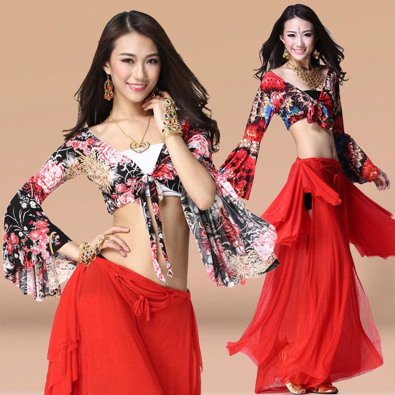 Nuevo verano de danza del vientre 2/3 pieza de vestuario de ensayo Mujer Sentido danza oriental ropa del funcionamiento del juego