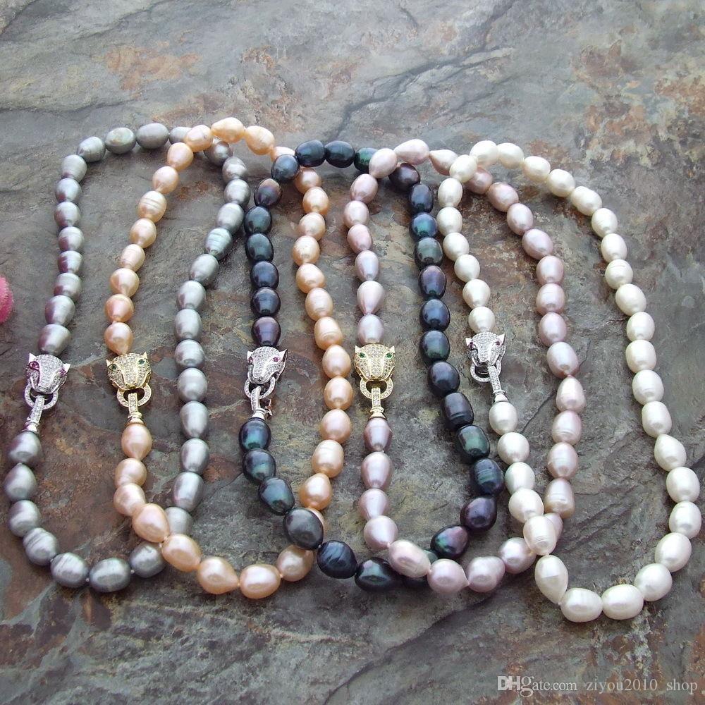 Annodato a mano 10-12mm bianco grigio rosa d'acqua dolce di riso viola micro testa di perle leopardo nero intarsio zircone collana lunga 43 centimetri