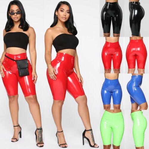 Seksi Deri Tozluklar Bayanlar Yüksek Bel PU Deri Kısa Pantolon Sıkı Yukarı Kalem Skinny Sıkı Leggings itin