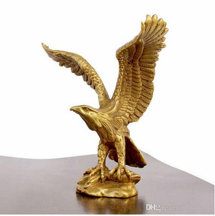 """Artisanat Cuivre Bronze Laiton Chine Bronze Laiton Transbordement statue Feng Shui Statue EAGLE / Faucon Figurine 4.5 """"de haut"""