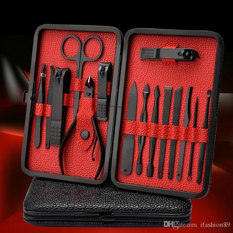 18PCS 프로 매니큐어 페디큐어 키트 유틸리티 가위 트위터 나이프 네일 아트 도구 키트 DHL 무료 설정된 모든 확장자에 대한 설정 도구 손톱 깎기