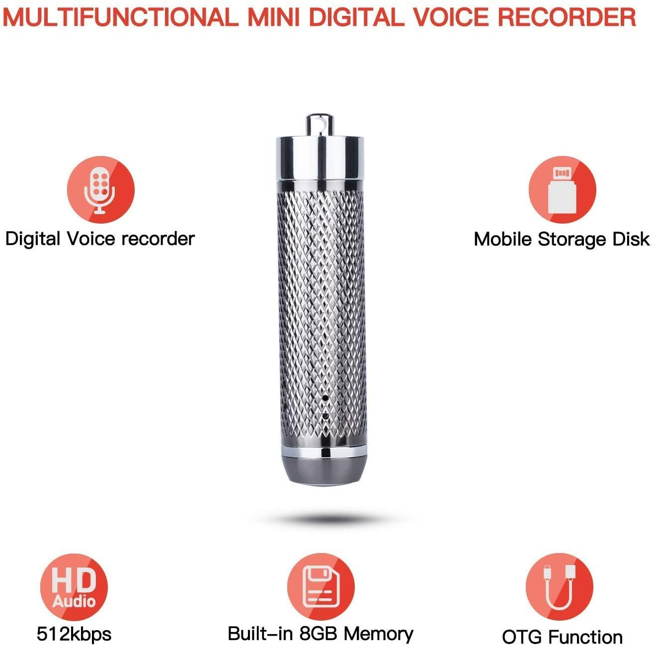 Portable mini Keychain digital voice recorder 8GB Wearable Pendant mini Dictaphone pen with U-disk function black in retail box