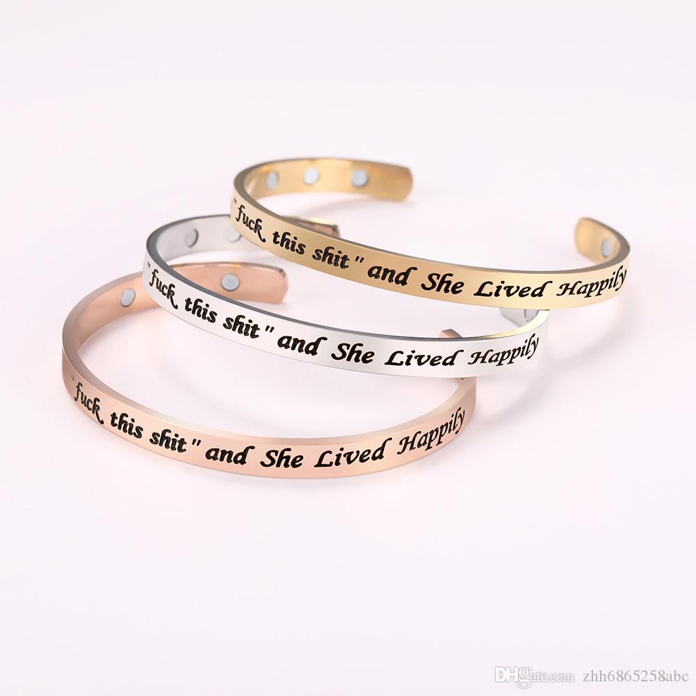 BSS80954 ultimo disegno dei monili dell'acciaio inossidabile oro rosa scritte semplici magnetica C Forma di apertura del braccialetto del polsino per le donne regalo