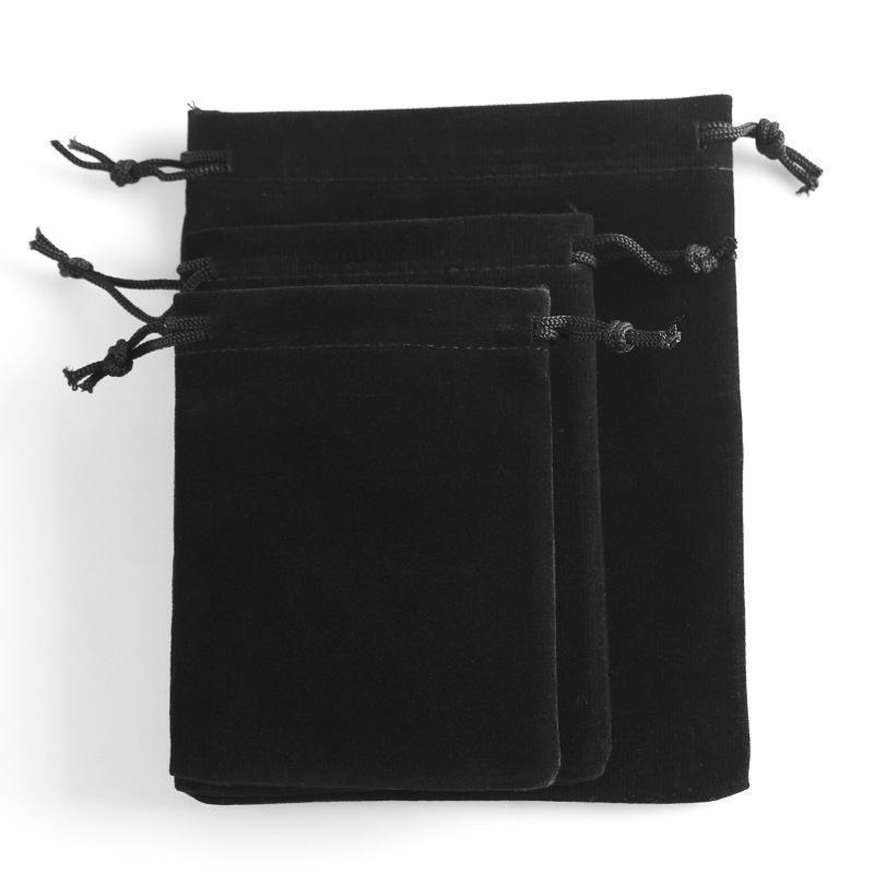 Großhandel 7cm * 9cm schwarzen Samt Schmuckbeutel Charme-Verpackungs-Beutel für Halskette Ringe Ohrring Pandor Korn Geschenk-Verpackung Taschen