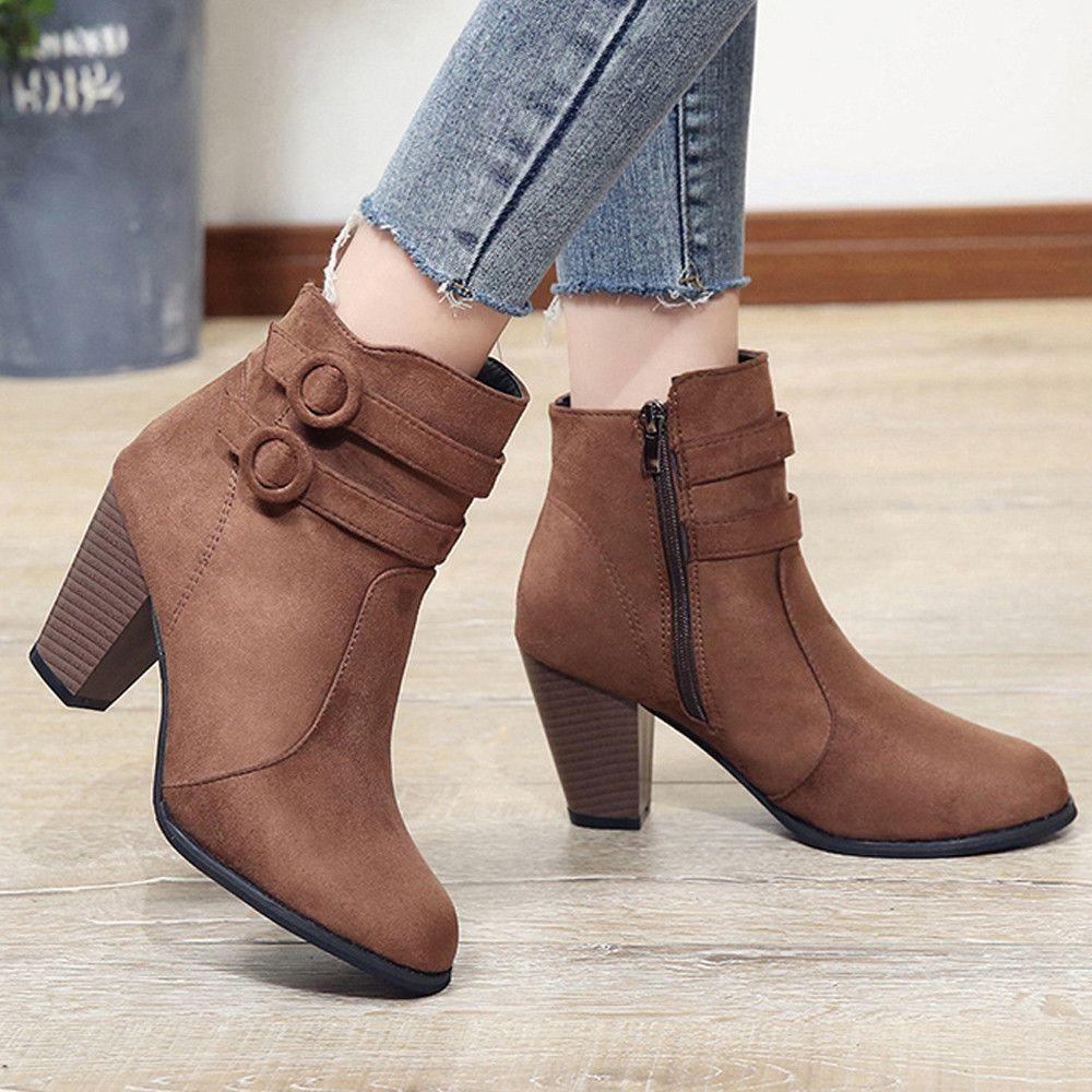 nueva llegada 38665 531ad Compre Moda 2019 Calzado Casual Mujer Otoño Zapatos Casuales Cómodos Botas  De Invierno De Mujer Zapatos De Mujer Botas Mujer A $25.31 Del Jerry10 | ...