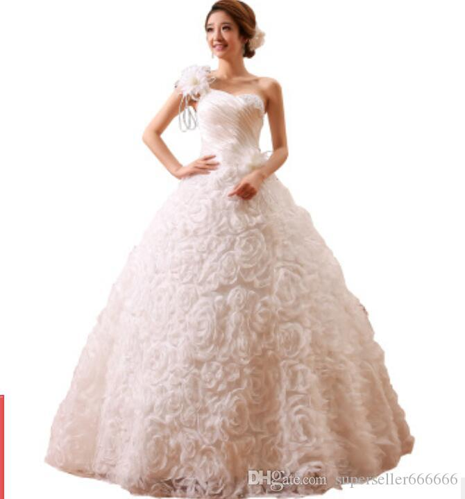 Women Luxury Dress Red tail wedding Bride princess Sexy beautiful One-shoulder slim strap lace Three-dimensional rose Party dresses