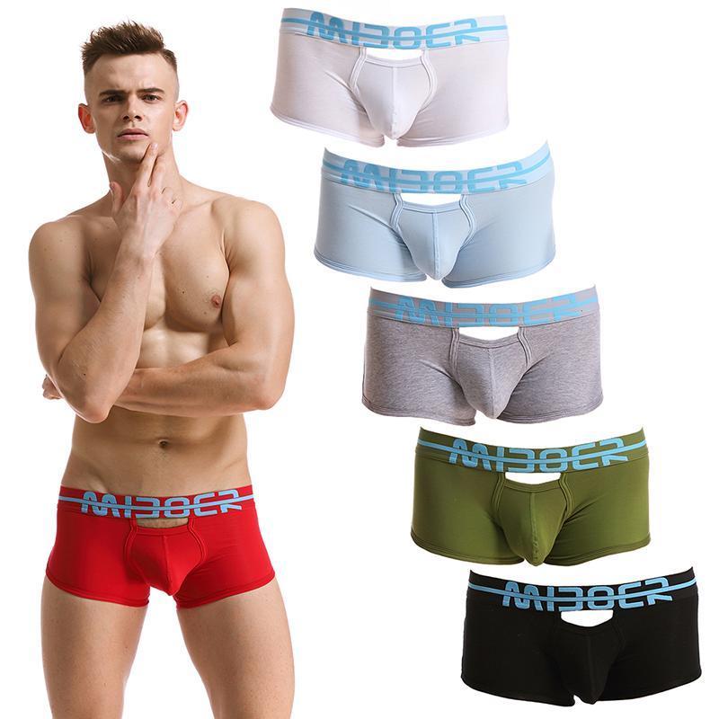 Anteriore sexy scava fuori il sacchetto della biancheria intima degli uomini classici Backless mutande dei tronchi I pugili Shorts Cuecas maschio Mutandine