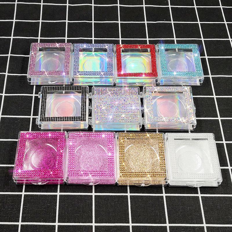 Novo Atacado Quadrado Caixa Lash ALSE Packaging Box Fake 3D Mink Lashes Caixas Faux Cils Strip Case Diamante Vazio