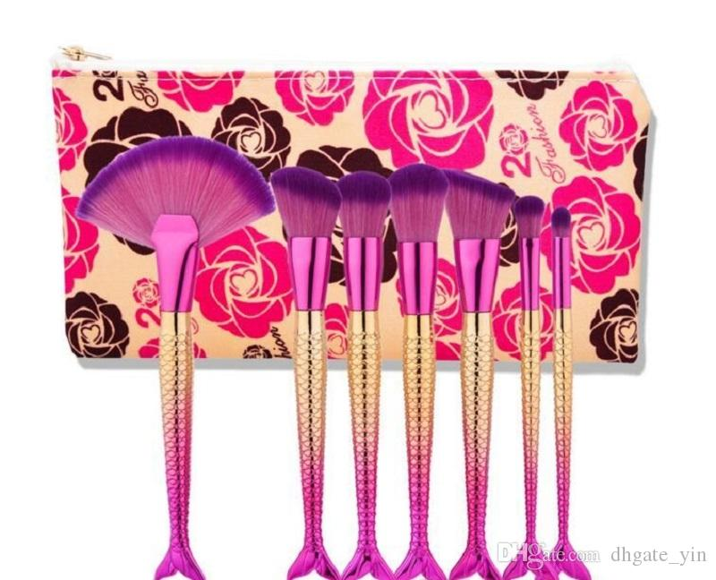 beauty and beast makeup brush sets The Beast Rose 7 pcs Mermaid 3 fishtail brushes make up tool bright color Cosmetic bag