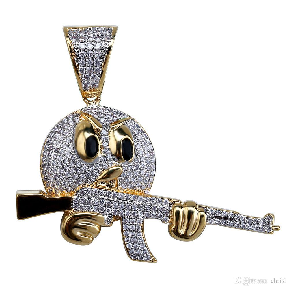 Хип-хоп Iced Out Emoji лица Характер с ружьем ожерелье шарма цепи золота серебра Кубический циркон Мужские ювелирные изделия