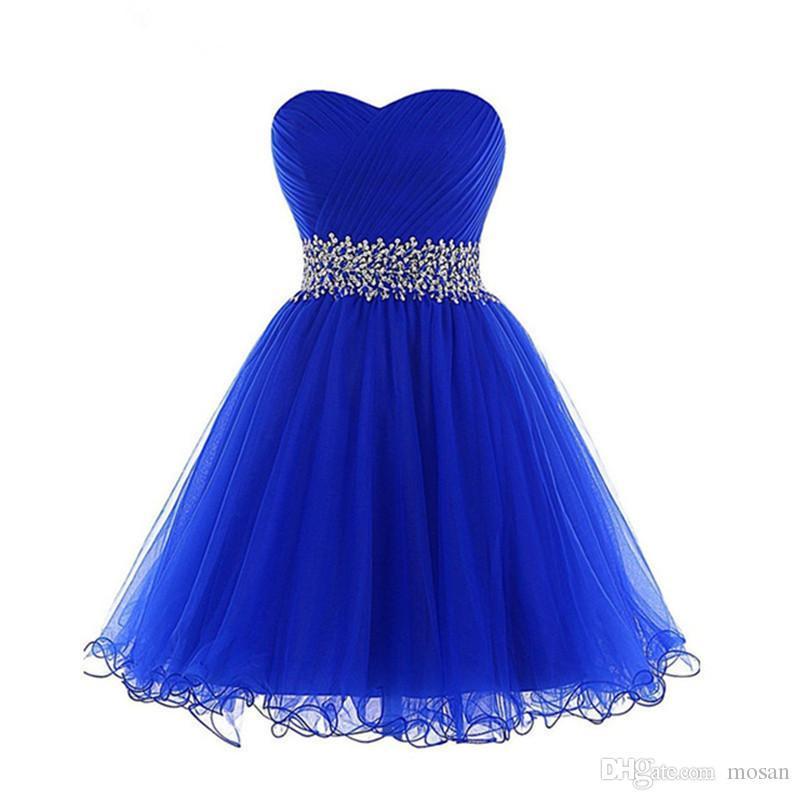 Горячие Продажа бальное платье выпускного вечера краткости платья Милая блестки бисером платья коктейль Шнуровка Pleats оборками Royal Blue Dress New