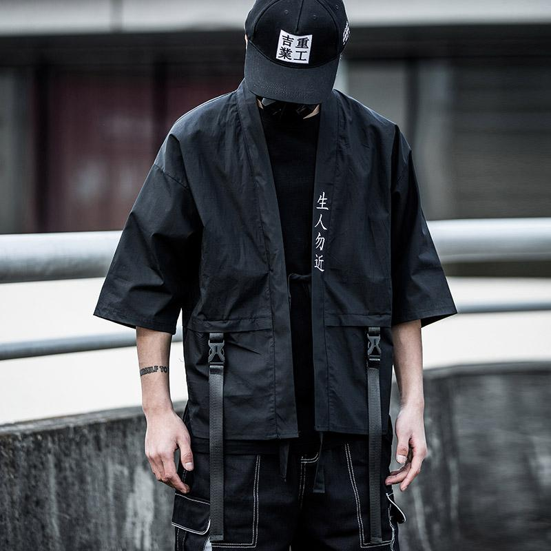 Songsanding 2020 Японский Street Незнакомец вышивки куртка Япония Стиль Мода черный Белая лента Мужчины Куртки и пальто нас размер M-XL