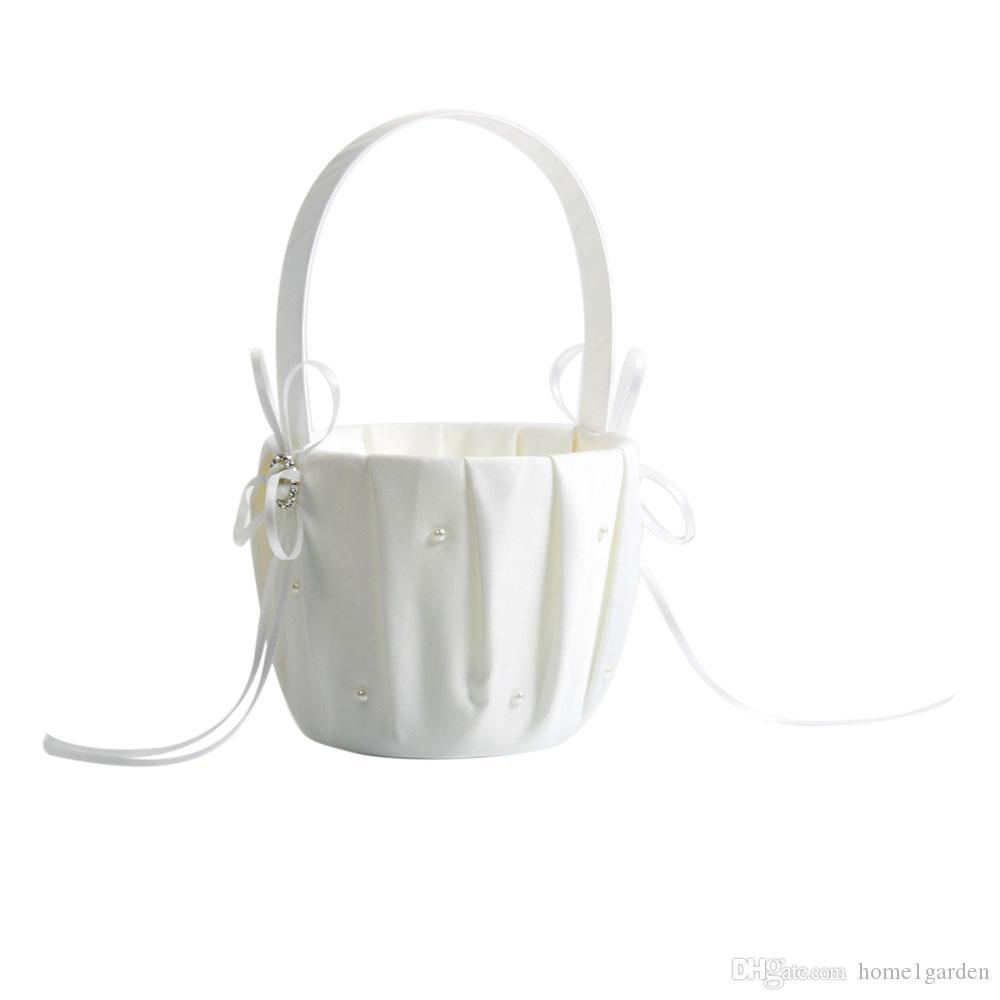 Wedding Satin Flower Girl Basket White, Pearl Satin Wedding Flower Basket Ivory
