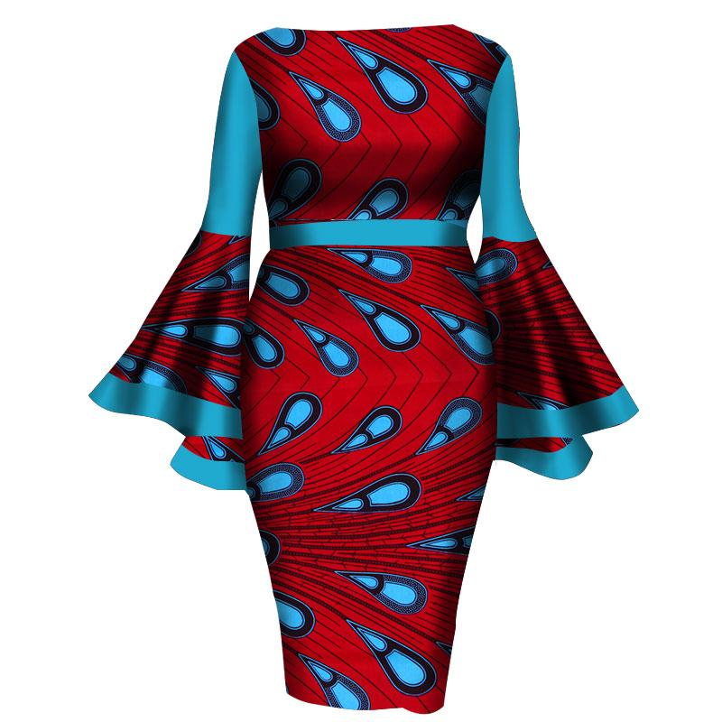 African Women Dress 2019 New Summer Lady Print Wax Dresses Bazin Riche Mid-Calf Africa Sexy Speaker sleeves Dress WY1217
