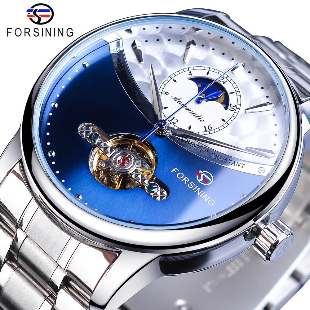 Aflammer Blue Moon Phase Automatique Mens Montres Montre Business Watch Casual Scier Sangle Étanche Sport Mécanique Relogio Masculino