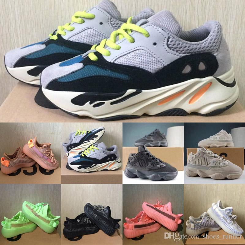 2020 Yeni Çocuk Ayakkabıları Dalga Runner 700 Koşu Ayakkabı 500 Kanye West V2 Sneakers Kil Yansıtıcı Siyah Beyaz Eğitmen Zebra Gri