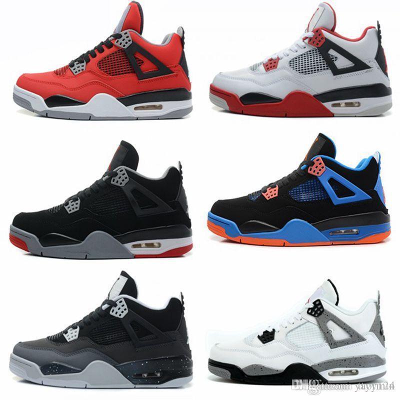 Nouveaux 4S Bred Chaussures Hommes Mode Rouge Feu Sneakers ETUI 4 Raptors Athlétisme Sports de plein air pour Hommes Blanc Bleu Chaussures Rouge