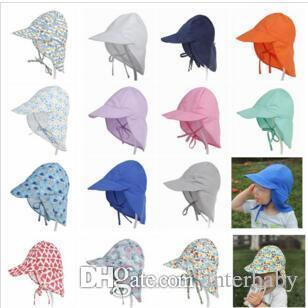 Bebê Impresso chapéus de sol infantil INS Fisherman Hat Criança Verão Anti- Uv Praia Caps recém-nascido ao ar livre Viagem Chapéus Neck Proteção Cap TLYP208