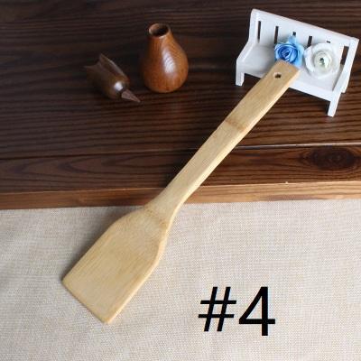 الخيزران ملعقة ملعقة 6 أنماط المحمولة خشبية أواني المطبخ الطبخ تيرنر مشقوق خلط حامل معاول EEA1395-2