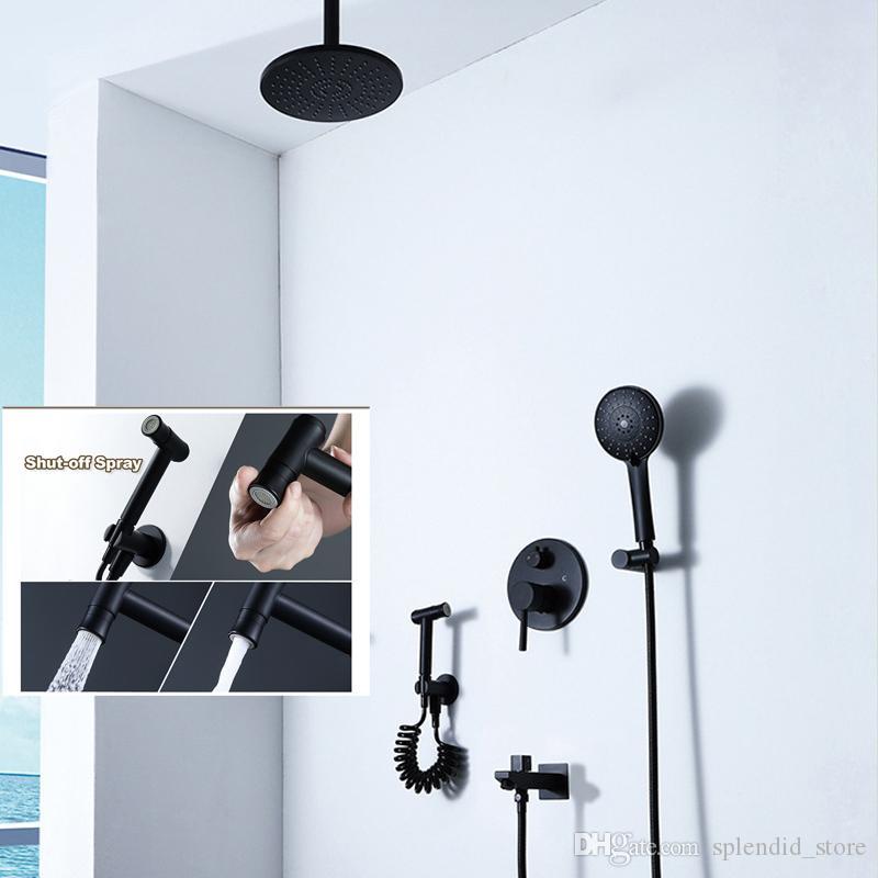 천장 라운드 샤워 시스템 9 인치 ABS 강우 마사지 샤워기 매트 블랙 따뜻한 것과 차가운 황동 전환기 밸브 3 기능 비데 세트