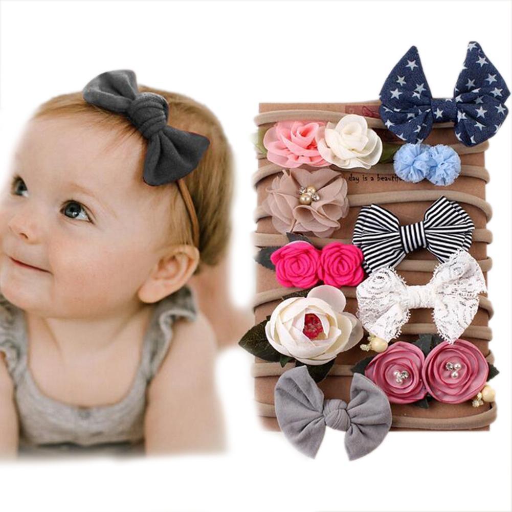 10PCS / Set Neugeborenes Baby-Haar-Kopfbedeckung Zubehör Bowknotblume Stirnband-Haar-Band-Set Neue Baby-Accessoires