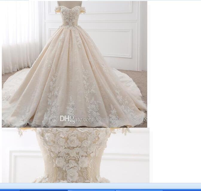 03Dream Angel Royal Train Sweetheart Ball Gown Wedding Dresses 2018 Appliques Flowers Vintage Lace Bride Gowns Vestido De Noiva