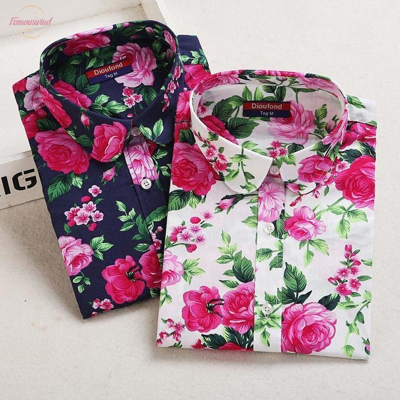 Botón de 2020 mujeres del verano camisa camisas de flores de trébol blusa del algodón de manga larga para mujer Blusas Blusas marino Blanco Tamaño más 5Xl Dioufond