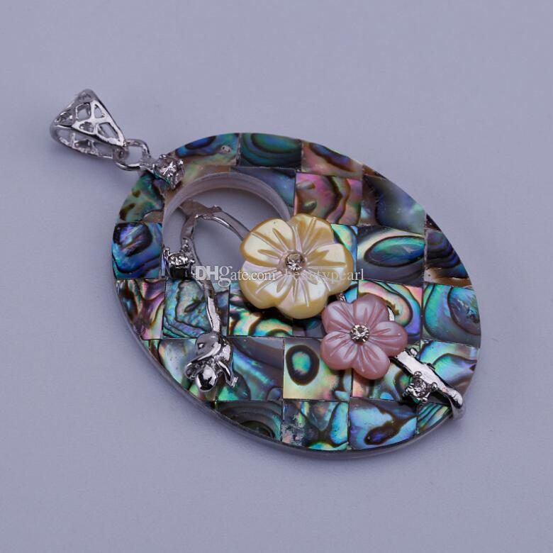 Oval Abalone Shell with Flowers Pendant Beach Wedding Bridal Jewelry Gifts for Women Girls Ocean Theme 5 Pieces