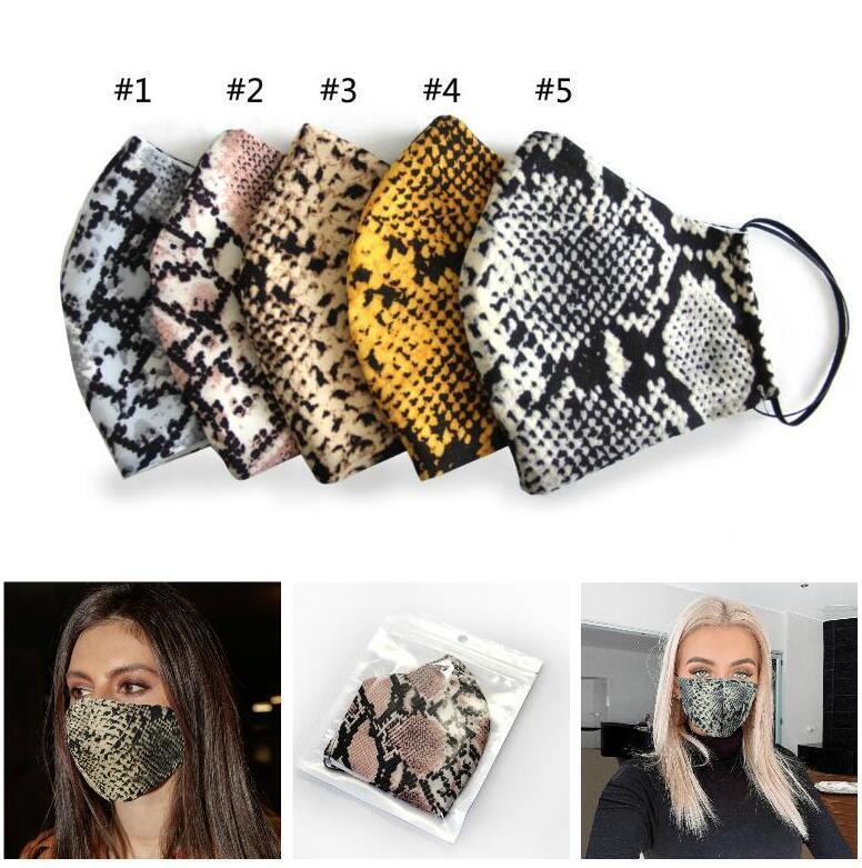 Leopardo de impresión Mascarillas diseñador de la máscara a prueba de polvo del respirador lavable a caballo adulto deportes al aire libre Imprimir Máscaras boca con filtros de bolsillo