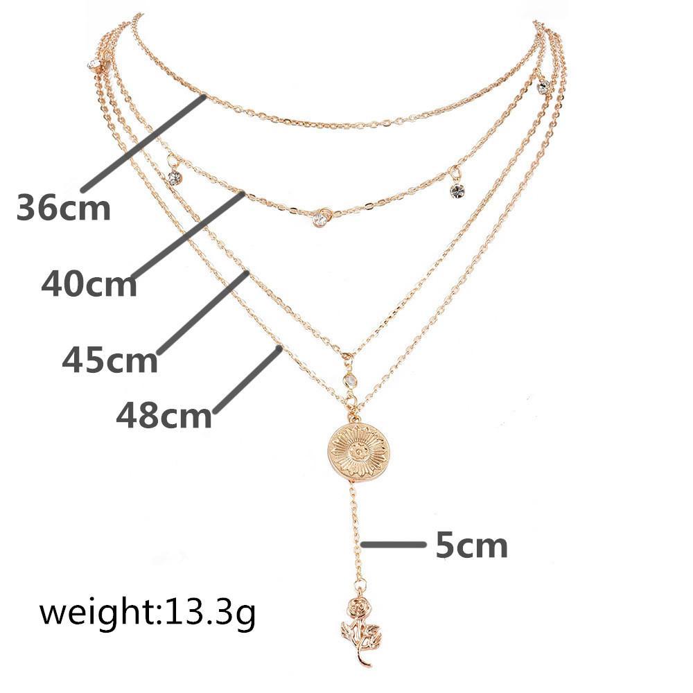 ALYXUY New Rose Blumen-Anhänger-Halsketten für Frauen-mehrschichtige Kristall-Korn-Gold-Lange Halskette Mädchen Romantische Schmuck Geschenk