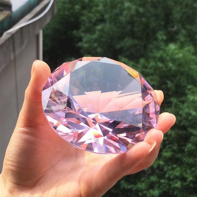 Diamants décoratifs artificiels ornements en cristal de verre transparent coloré de 80mm