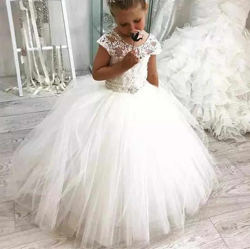 Luxus-Blumenmädchenkleider für Hochzeit Erste Pageant Communion Kleider vestidos primera comunion para ninas Mädchen Kleider