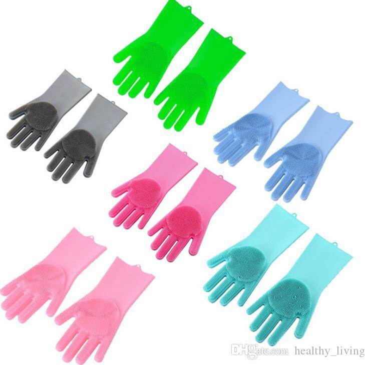 HOT Kitchen Silicone Cleaning Gloves Magic Silicone Dish Washing Gloves For Household Silicone Scrubber Rubber Dishwashing Gloves