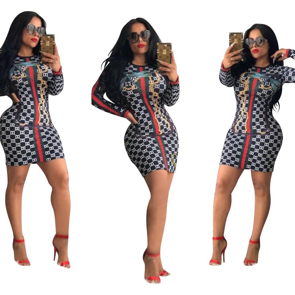 Vestidos de diseñador para mujer Verano 2019 Nuevas mujeres Verano Lujo Impresos Casual Manga larga Vestidos Moda para mujer Cuello redondo Vestidos delgados atractivos.