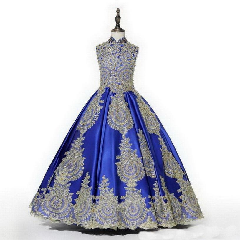 2020 Real Photo Royal Blue Gold Abbellire Ragazze Pageant Abiti Collo Alto Abito Di Sfera Paillettes In Rilievo Bambini Prom Partito Di Sera Ragazze Di Fiore Vestito