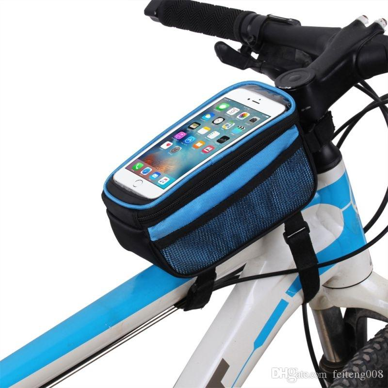 B-SOUL Bike Bag Touch Screen MTB Saddle Bag On The Tube Mobile Phone Package Riding Equipment 5.7 Inch Frame Storage bag #158539