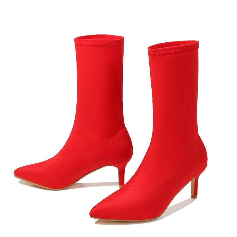 2020 женщины стрейч желтые сапоги 7 см высокие каблуки короткие ботильоны Леди боевые низкие каблуки фетиш прохладный стриптизерша синий красный осенние туфли