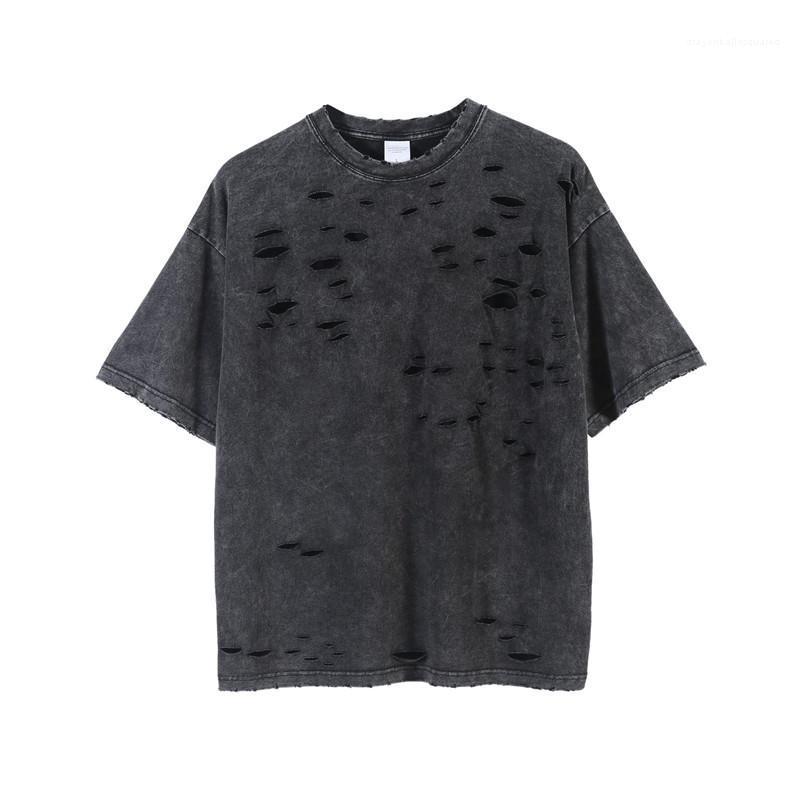 Stree Stil Tees Casual Kısa kollu Tees Moda Erkekler Erkekler Katı Renk Tshirts Tasarımcı Hole Tops